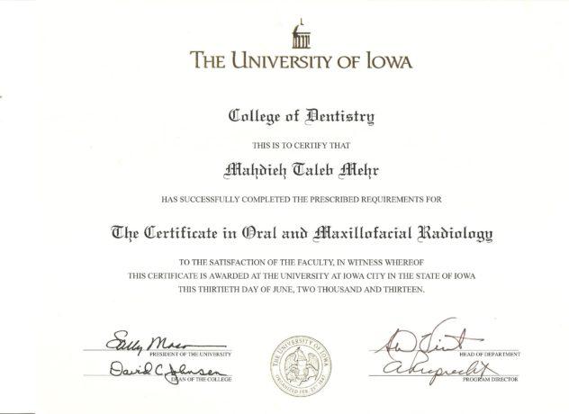 Radiology Certificate 001 Lincoln Shine Dental